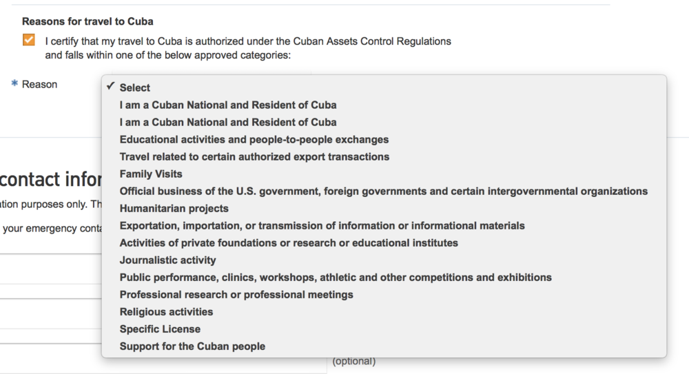 Selecting your reason for travel begins when you book your flight.Unless you clearly fall into one of the other categories, select  Support for the Cuban People , and be consistent whenever your reason is requested.  This category is the most flexible and allows you to travel independent of an organized tour. There are requirements for using this category,and a hefty fine if you visit as a  tourist,  so be smart.  While you will likely never be asked to prove you met the requirements, it's not worth the risk. I paid $100 for a service that provided documentation showing compliance with the requirements. It turns out the value of this service extended well beyond providing proof as they assisted in building a custom itinerary,providing restaurant, tour, and accommodation recommendations as well as booking transportation and tours.