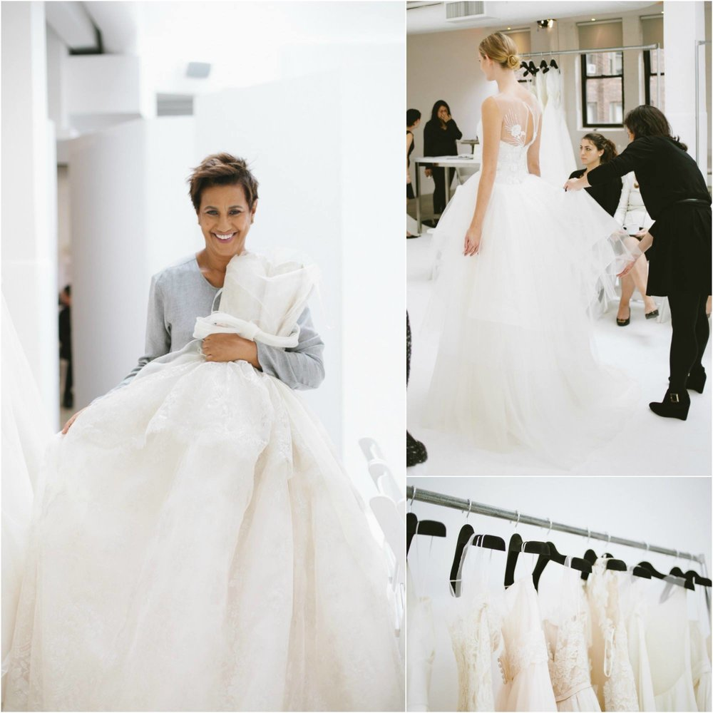 Designer, Amsale Aberra, with one of her wedding dress creations in her New York studio