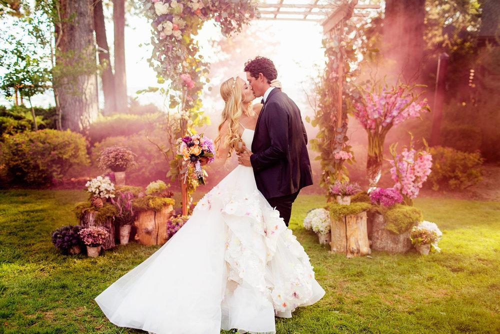 Designer, Hayley Paige, during her own dreamy wedding in Lake Tahoe!