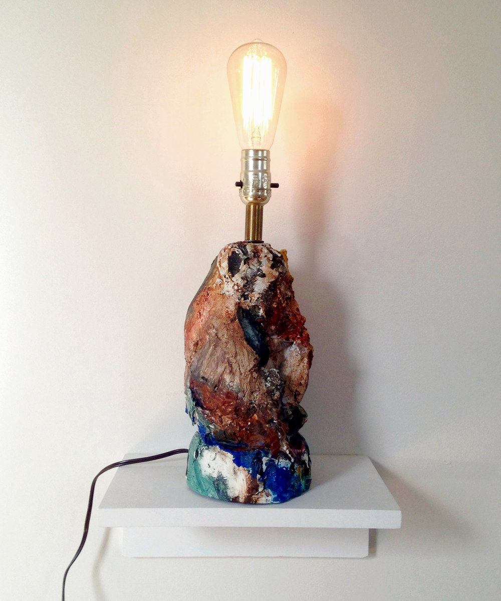 "As Its Work Is, so Is Its End  | 2015 | plaster and acrylic on found lamp | 16""H x 5""W x 5""D"