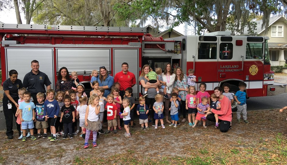 On February 27th we were visited by the Lakeland Fire Department! The children met fire fighters and got to see the entire fire fighting suit! Thank you to Lakeland Fire Department!