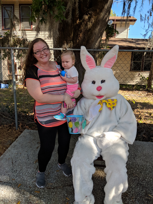 On March 28th we hosted an Easter egg hunt! Parents and families came to help their little ones search for eggs and meet the Easter bunny!