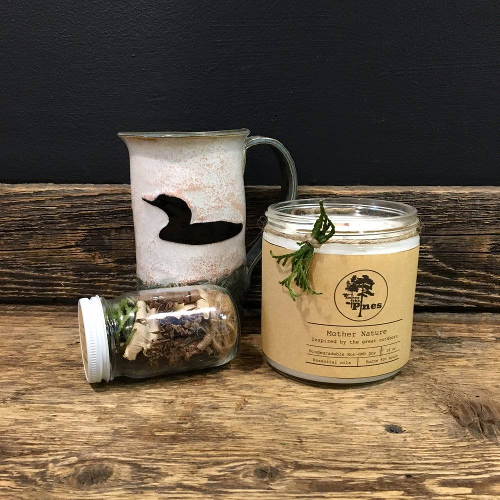 Candle and Firestarter Jar by  Among the Pines  • Mug by  Nicola Mayer
