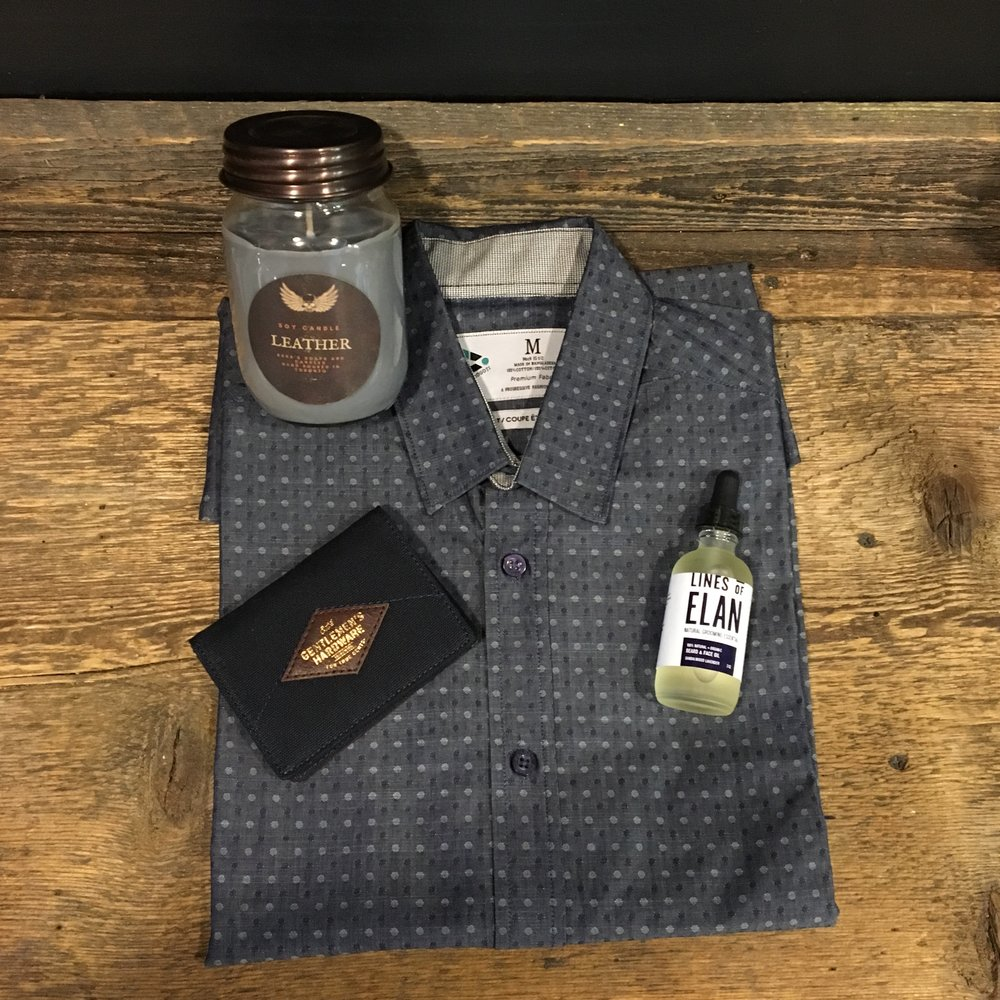 Shirt by  Progoti  • Candle by  Sara's Soaps and Candles  • Beard Oil by  Lines of Elan  • Wallet by  Loft 604