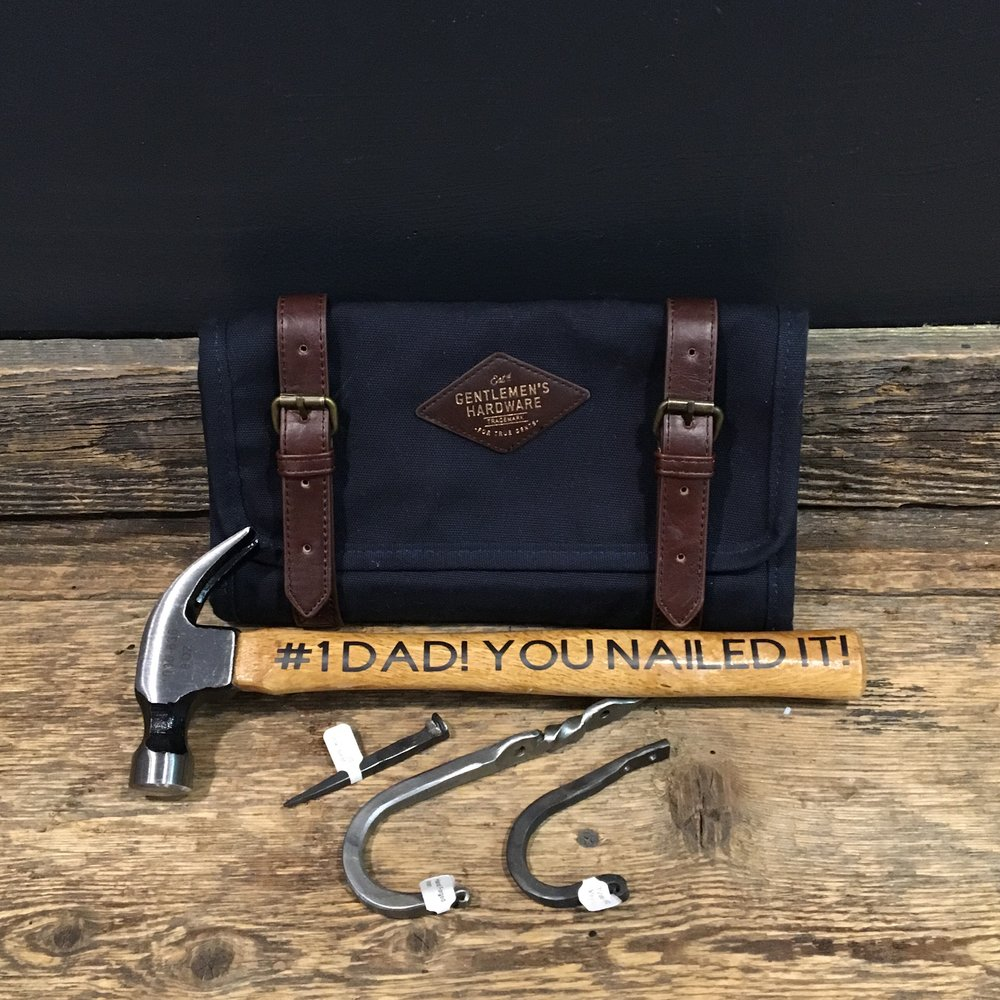 Hardware by  Riverdale IronWorks  • Custom Hammer by  Bradley Palmer Designs  • Travel Bag by  Loft 604