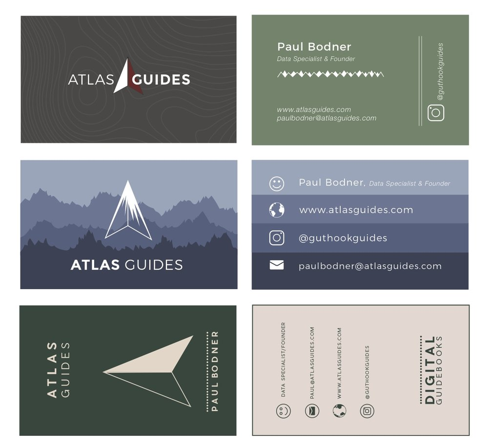 Business card design for Atlas Guides - Digital Guidebooks for hiking and biking.