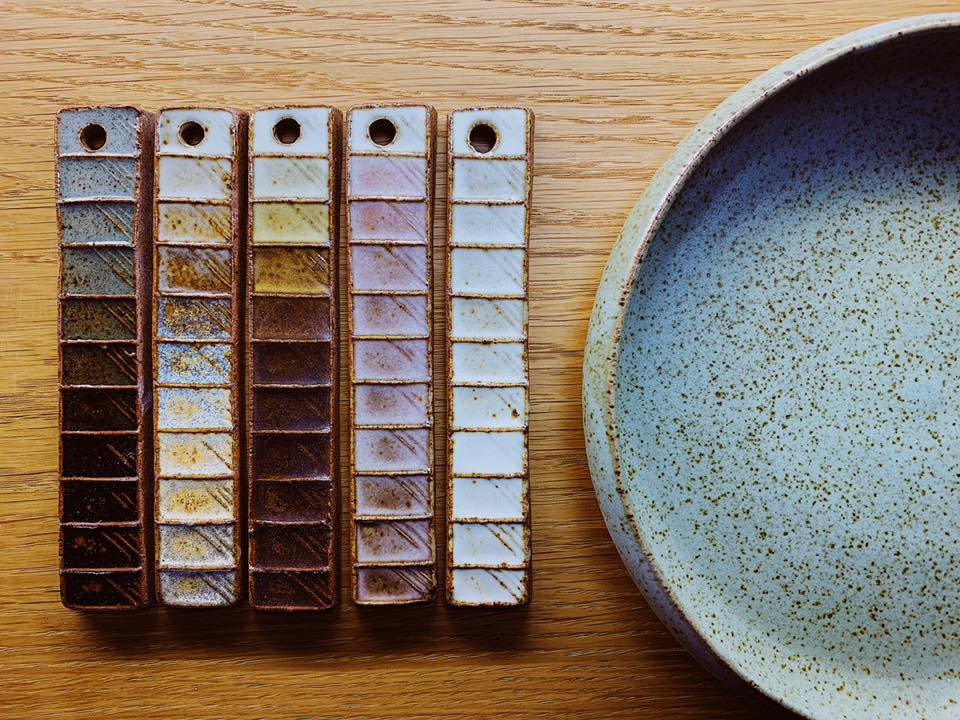 materials blends sampling high fire reduction glazes on stoneware