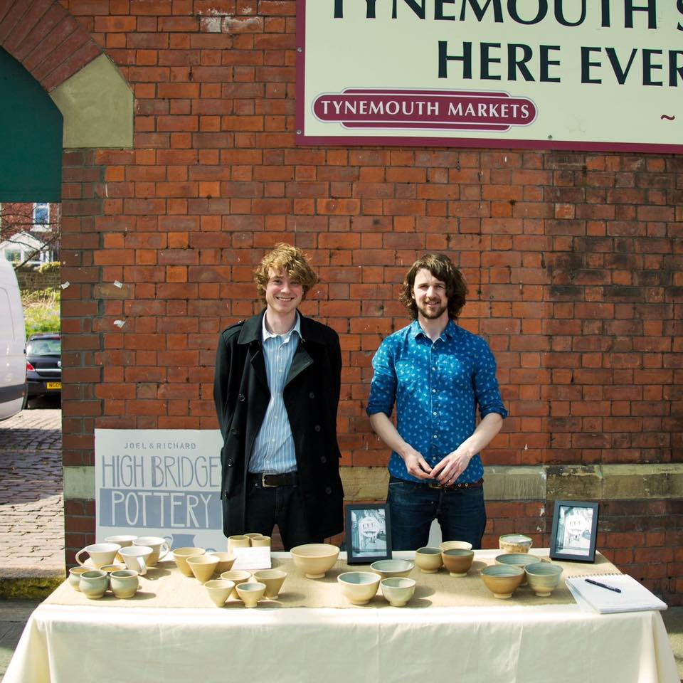 Rich & Joel setting up High Bridge Pottery at Baltic 39, High Bridge Street, Newcastle-upon-Tyne, 2014.
