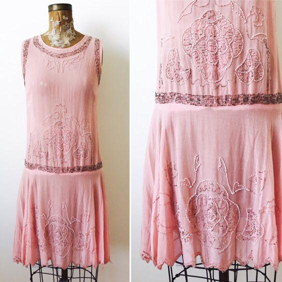 Vintage Pink 1920s Beaded Flapper Dress   $385.00