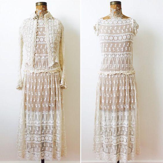 Vintage 1920s white lace flapper dress   $428.00