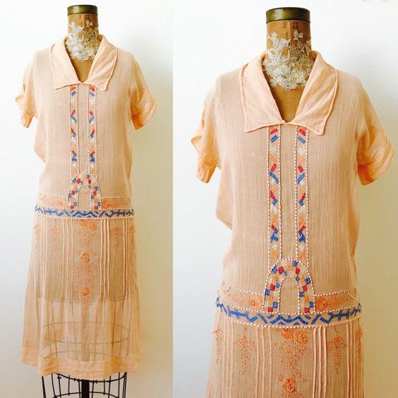 Vintage 1920s Apricot Color Day Dress   $288.00