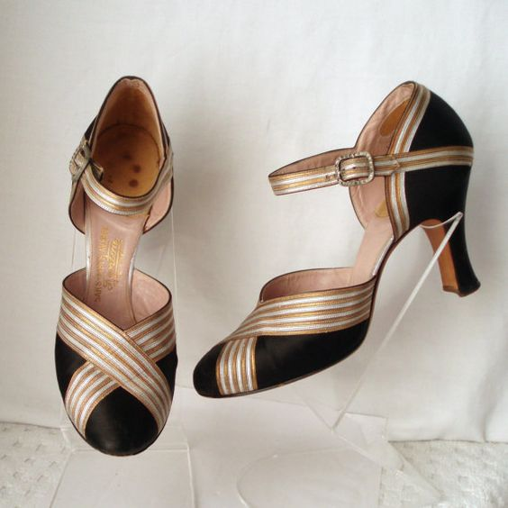 Black Silk Gold Silver Leather 1920s Shoes   £95