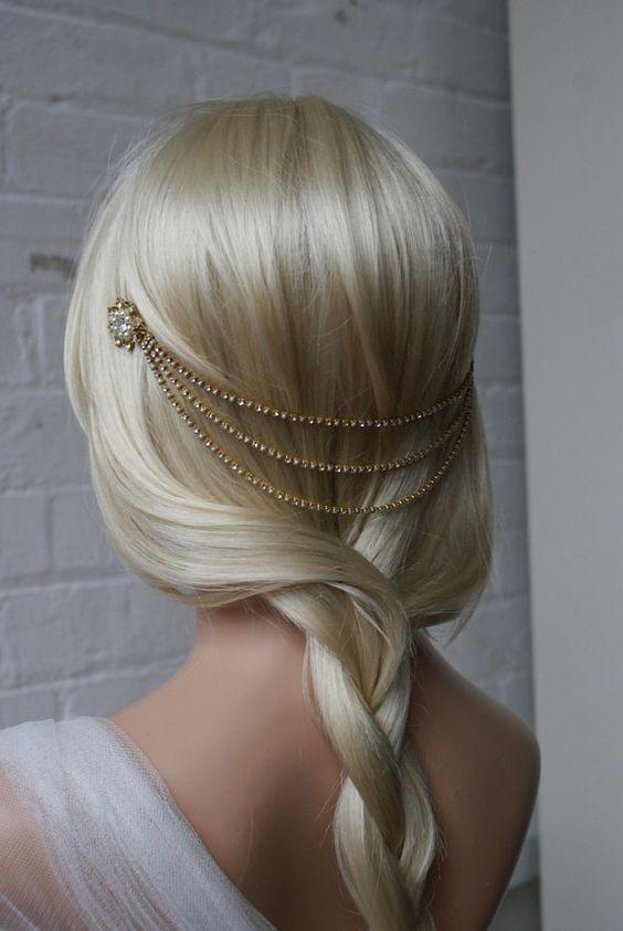 Gold Headpiece with pearls - Bohemian Wedding Headpiece   $104.43