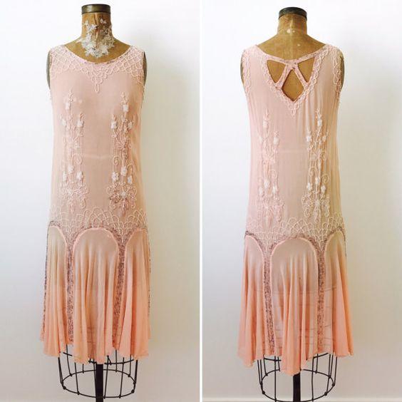 $385   Vintage 1920s Beaded Silk Flapper Dress/Pastel pink color/Art Deco/Gatsby Style/Wedding dress