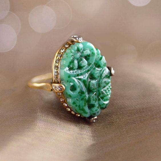 Vintage Jade Glass Ring   $49.00