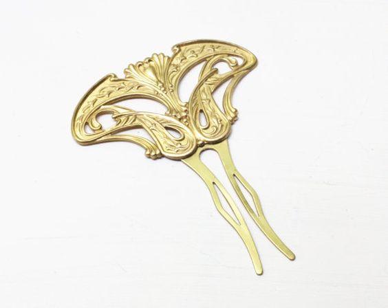 1920's style elegant golden wedding hairpiece   $27.00