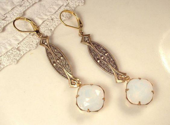 Deco Rhinestone Vintage Dangle Earrings   $41.99