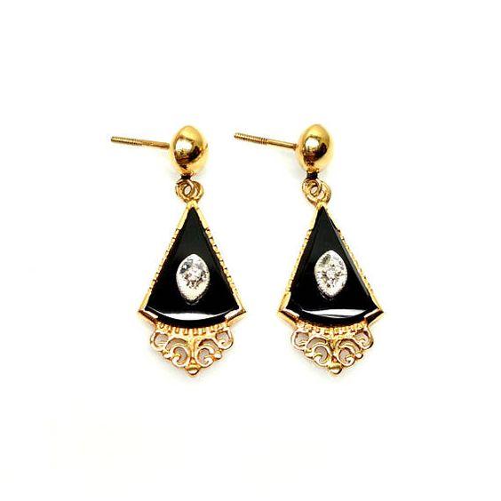 Vintage 1920s Onyx, Diamond and 14 Karat Yellow Gold Dangle Whimsical Earrings   $315.00