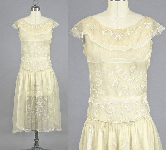 1920s Embroidered Dress   $185.00