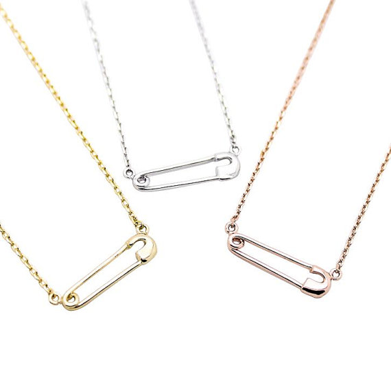 ANCIENT BRAND Tiny Safety Pin necklace in silver, yellow and rose gold, $18 Etsy.com