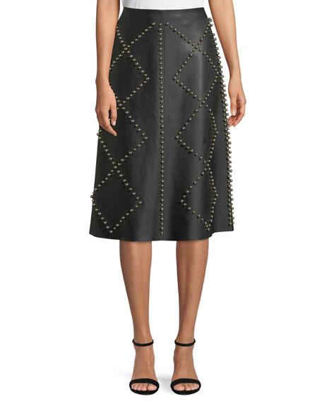 DEREK LAM studded a-line midi leather skirt, $4190 Neimanmarcus.com