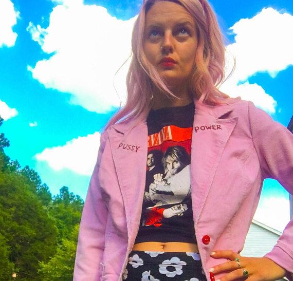 GROOVY GLOOM Pussy Power pink blazer, $50 Etsy.com