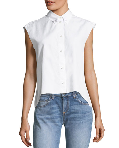HELMUT LANG, Button-front sleeveless cropped poplin shirt in white, $275, Neimanmarcus.com