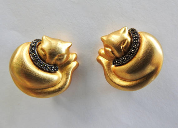 LEGENDARY BEAST Judith Jack cat earrings with marcasites, $75 Etsy.com