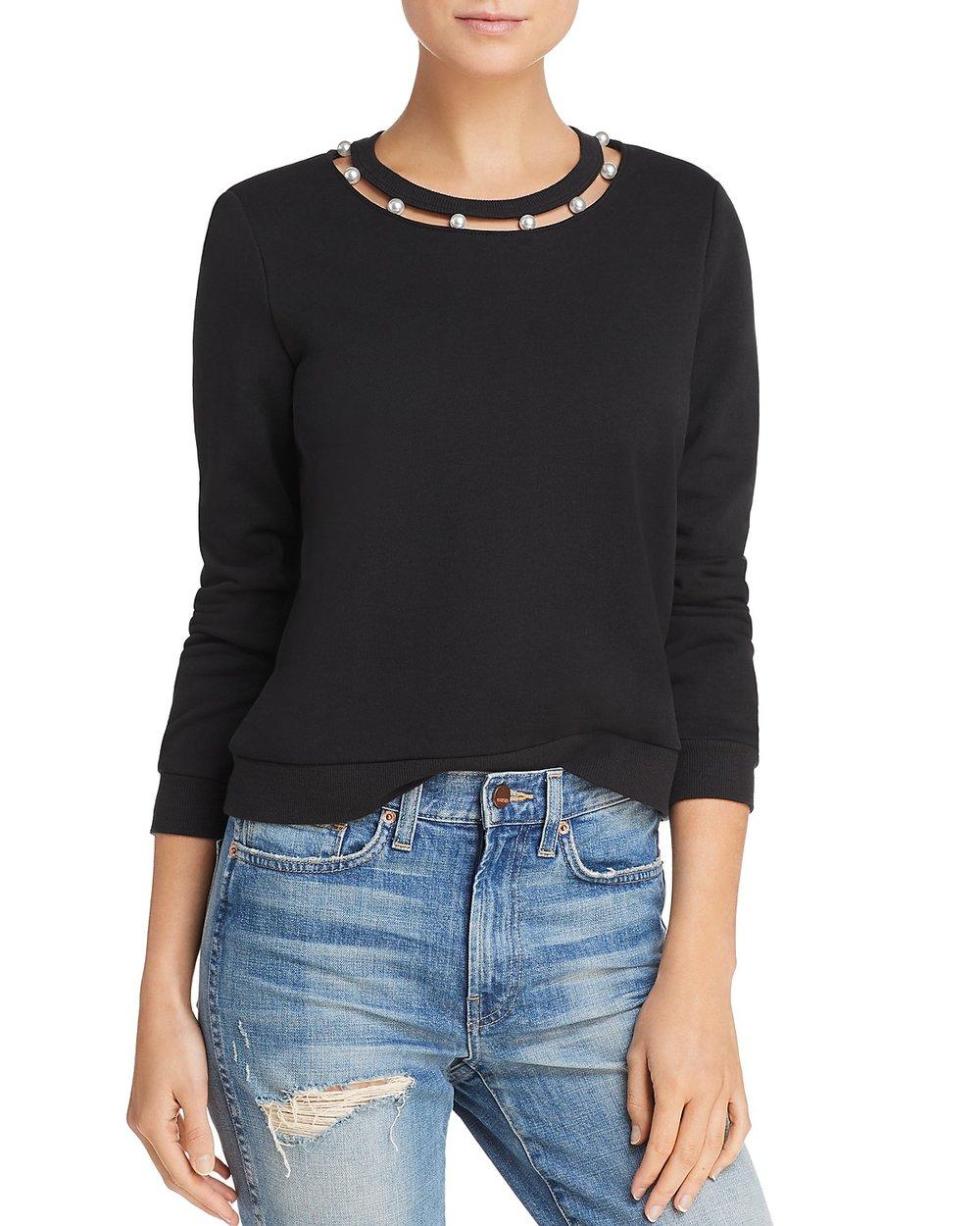 REBECCA MINKOFF Faux-Pearl collar sweatshirt, $98 Bloomingdales.com