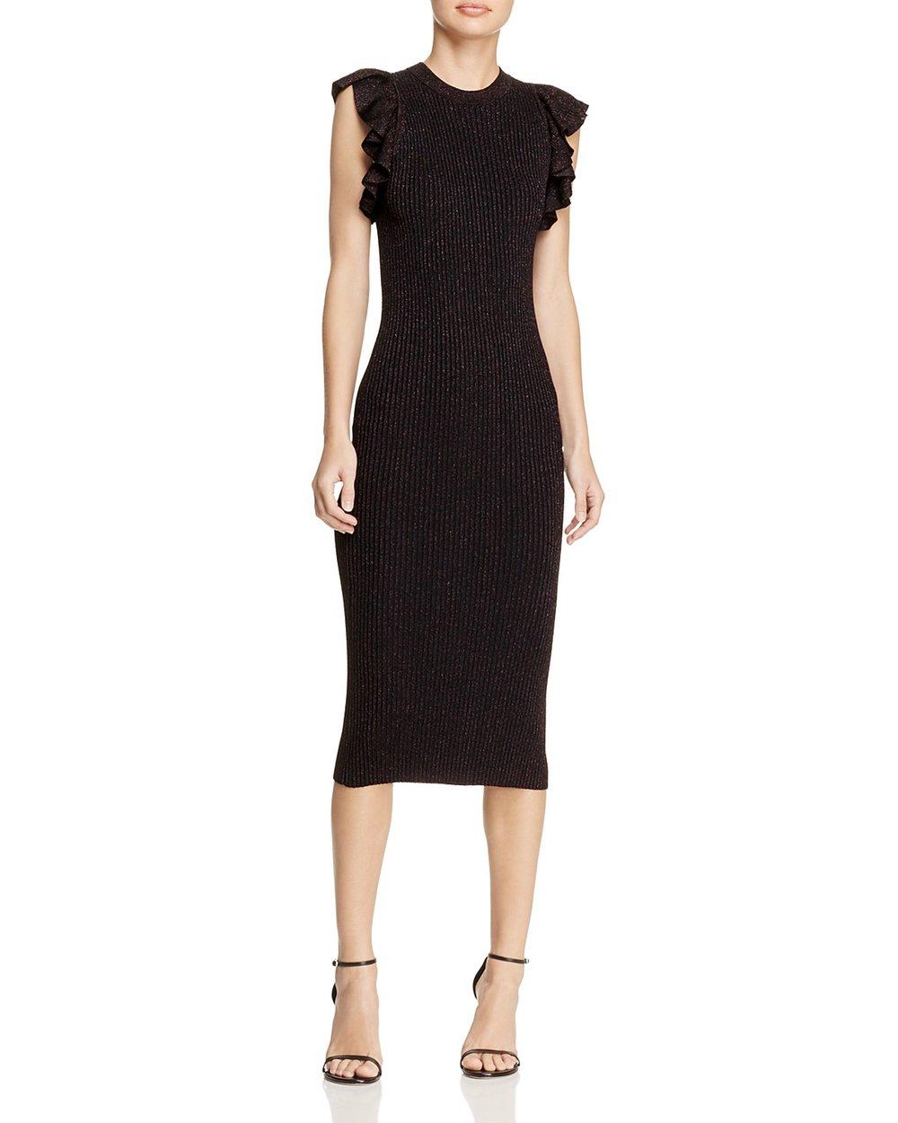REBECCA MINKOFF Sashi Ruffled Shoulder sweater dress, $156 Bloomingdales.com