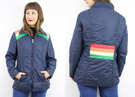 RUBY THREADS VINTAGE Vintage 70's navy blue rainbow jacket, $36 Etsy.com