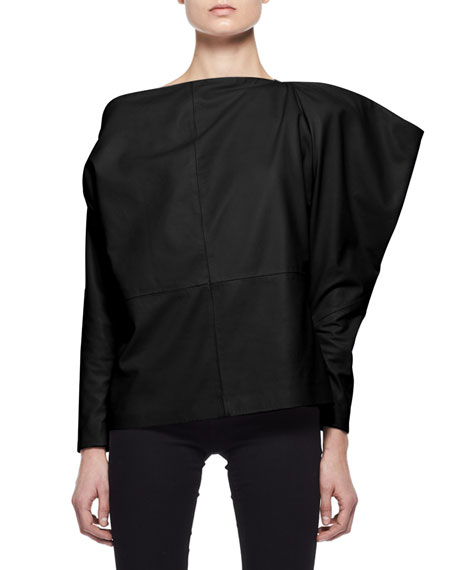 TOM FORD Leather off-shoulder top, $2390 Neimanmarcus.com