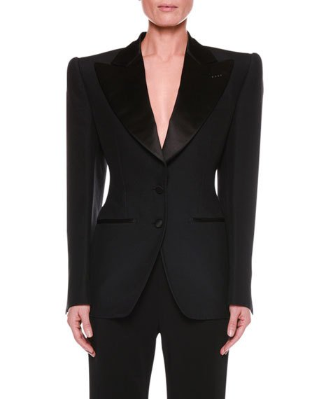 TOM FORD Satin-Lapel Two-Button jacket with strong shoulders, $3150 Neimanmarcus.com