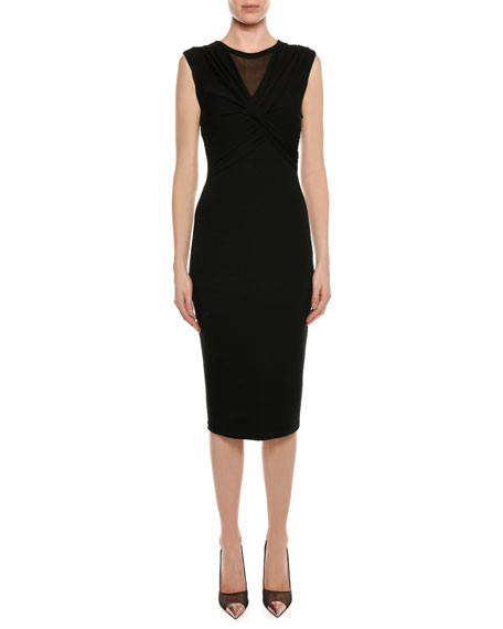 TOM FORD Sleeveless knot-front sheath midi dress, $1850 Neimanmarcus.com