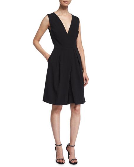 ZAC POSEN Sleeveless midi jumpsuit with pockets in black, $590 Neimanmarcus.com