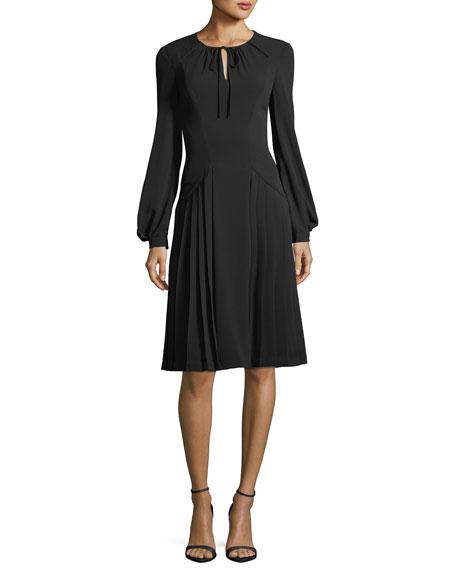 ZAC POSEN Tie-neck long-sleeve crepe dress, $1390 Neimanmarcus.com