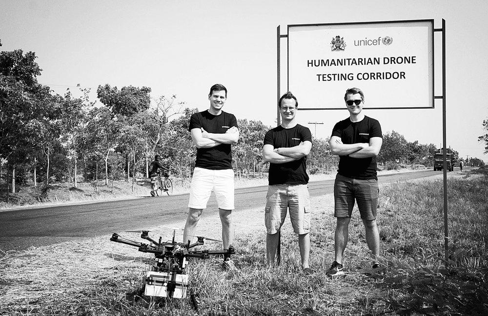 The Everdrone team in Malawi: Mats Sällström, CEO; Maciek Drejak, CTO; Emil Granberg, Technical developer