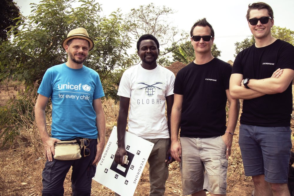 Michael Scheibenreif, UNICEF Office of Innovation; Godfrey Masauli, Globhe; Maciek Drejak, CTO Everdrone; Emil Granberg, Technical Developer Everdrone