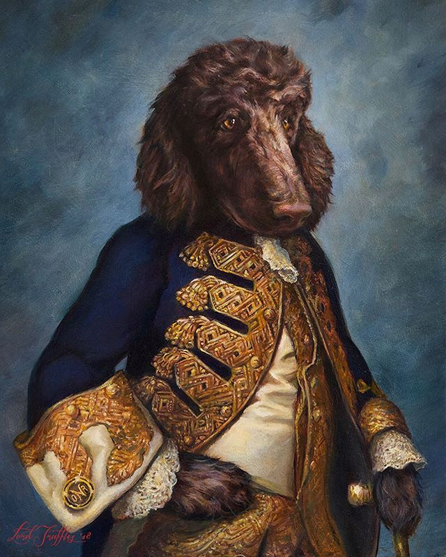 """It's always so touching to be called back from a former client to paint a new addition to their family! Here is their dashing """"Sir Otis""""! 😍 (This was painted as a companion piece to their portrait of """"Lord Ringo"""") . . #otis #otisredding #fabulous #royal #poodle #dog #dogsofinstagram #doggy #pet #petportrait #dogart #art #painting #oilpainting #lordtruffles #loving #petowner #merrychristmas"""