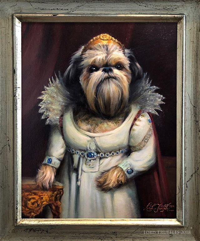 "Detail of Gertrude as ""Josephine"". (Oil paint on 8x10"" panel.) . . #precious #dogsofinstagram #dog #dogs dogstagram #dogsofinstaworld #dogs_of_instagram #dogart #pet #petart #dogpainting #petportrait #oilpainting #art #animals #animalart #lordtruffles #royalpetportrait #romantic #portrait"