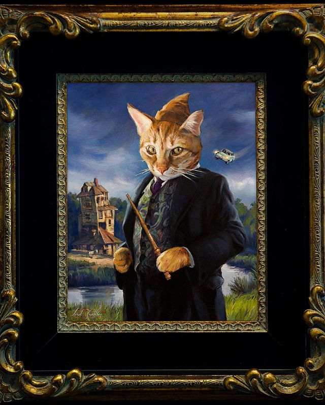 """Quite possibly the most magical feline...✨ Introducing """"Arthur Weasley""""! Mischief managed? 😼🦉 . . #isolemnlyswearthatiamuptonogood #catsofinstagram #cat #cats #magical #kitty #cats_of_instagram #catart #art #harrypotter #oilpainting #painting #pet ##lordtruffles #petportrait"""