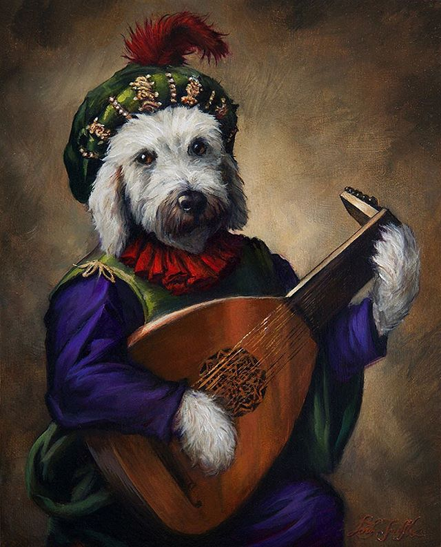 """Oh! What sweet harmony he wove...✨🎶 """"Maddy, the Lute Player"""", oil on 8x10 panel. . . #maddy the #dog #lute #luteplayer #dogoftheday #dogsofinstagram #petportrait #pet #artist #artistsoninstagram #dogart #doggy #animal #art #oilpainting #painting #lordtruffles #royalportrait"""