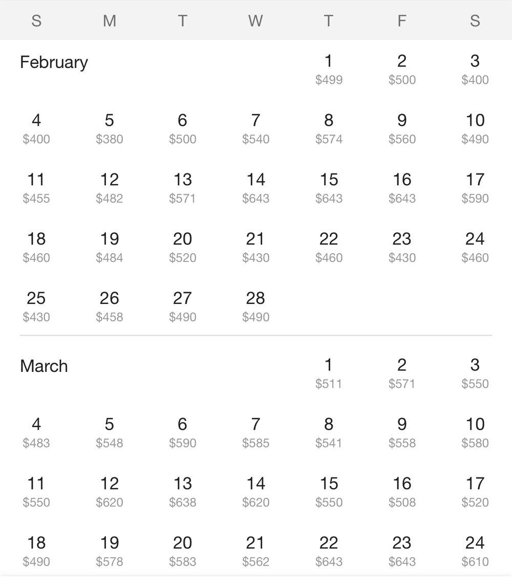 flight prices calendar