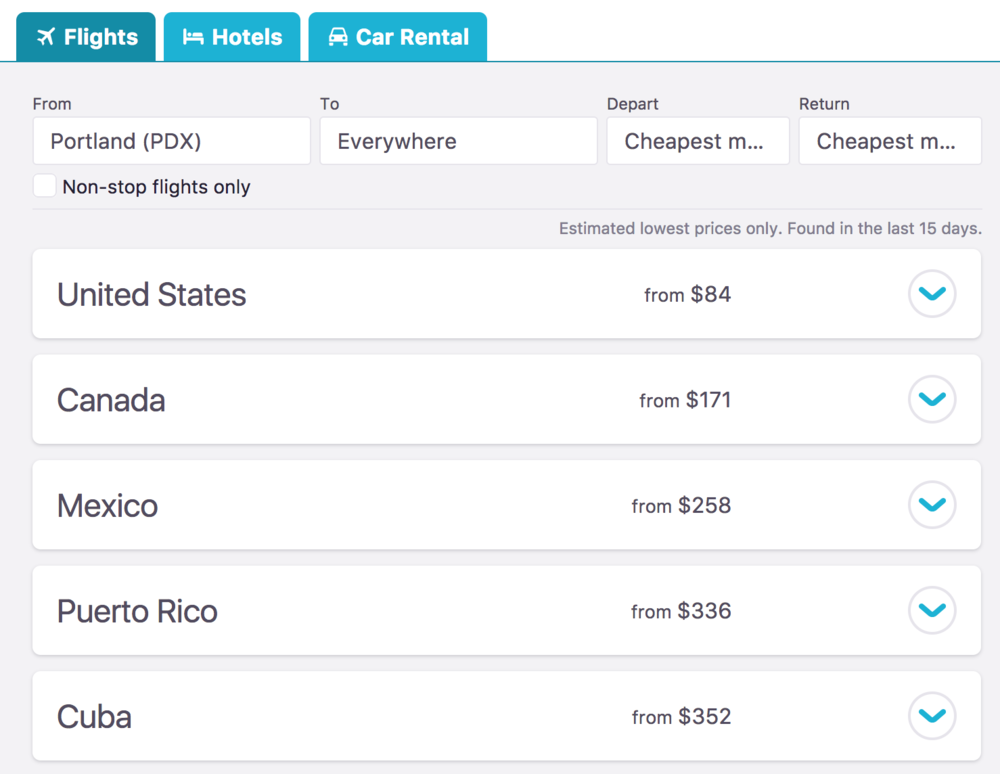 skyscanner travel results