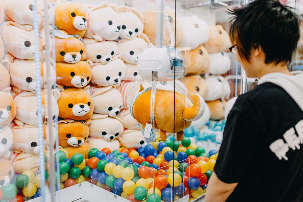 So many stuffed animals in claw machines in Tokyo Akihabara Japanese Arcades