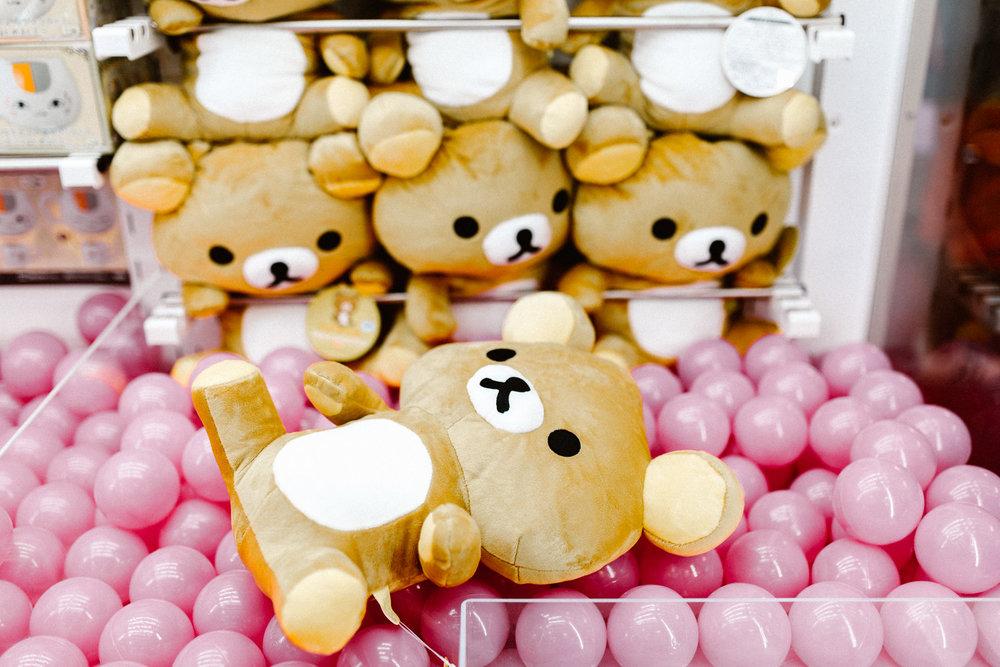 Cute Pusheen and Hello Kitty stuffed animals in Akihabara Japanese Arcade