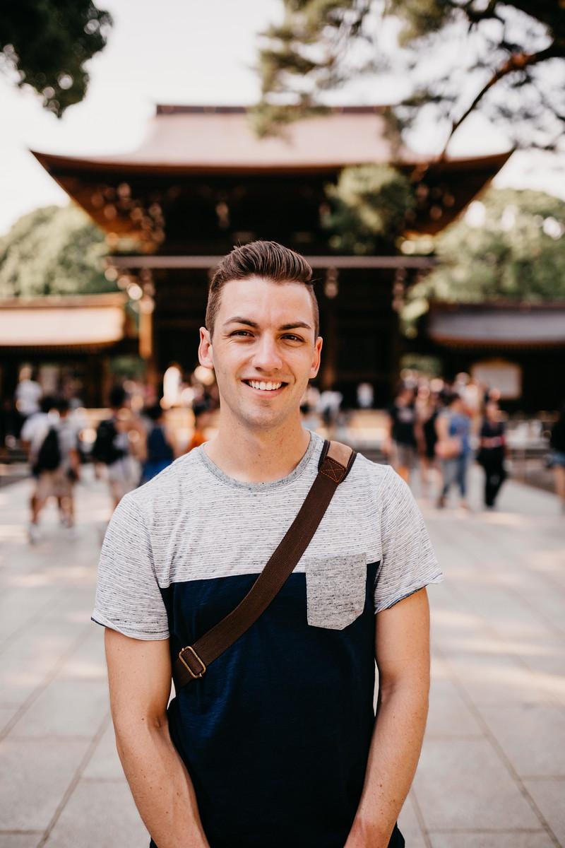 Michael LGBT Backpacker exploring Meiji Jingu Shrine in Tokyo Japan