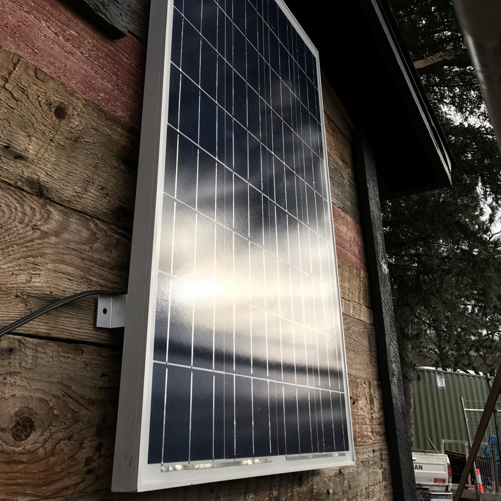 """Sponsor a Solar Panel—$150   Your donation of $150 can cover the purchase and installation of one Grape Solar panel on a shelter """"pod"""" ."""