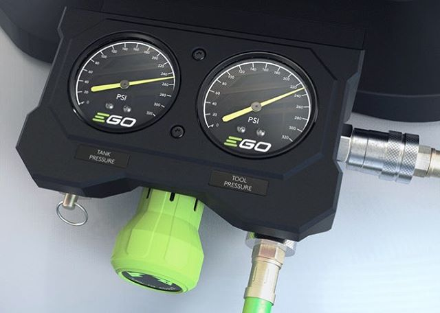 Details, details, details. Close up of compressor pressure gauges. Modeled in @solidworks rendered in @keyshot3d - #egopower #egopowerplus #egopowertools #egocompressor #design #productdesign #keyshot #keyshot3d #keyshotrender #solidworks #3dmodeling #cad #industrialdesign #tools #compressor #battery #3dmodel #render #rendering #aircompressor #green #gauges #designdetails #designprocess #friday