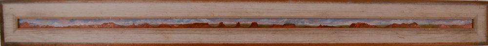"""Westward Ho 1995  Oil on copper, wood  6"""" x 56"""""""